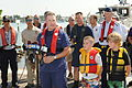 U.S. Coast Guard Lt. Cmdr. Joseph Abeyta, the commanding officer of Coast Guard Base Miami Beach, talks about National Safe Boating Week in Miami May 24, 2013 130524-G-ZK759-863.jpg