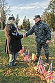 U.S. Navy Lt. David Duprey, right, a chaplain assigned to the aircraft carrier USS Abraham Lincoln (CVN 72), greets an actor with the Michigan Civil War Honor Guard in the civil war section of the Soldier's 131123-N-XP477-401.jpg
