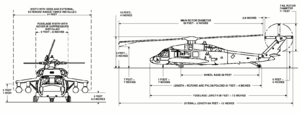 Orthographically projected diagram of the UH-60A Black Hawk.
