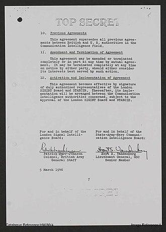 UKUSA Agreement - Image: UKUSA Agreement 1946