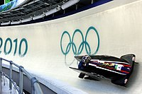 USA I in heat 1 of 2 man bobsleigh at 2010 Winter Olympics 2010-02-20.jpg