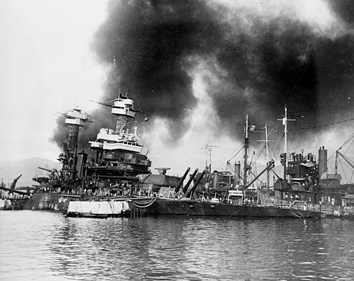 USS California (BB-44) sinking at Pearl Harbor 1941