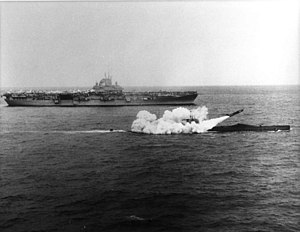 USS Halibut (SSGN-587) - Image: USS Halibut (SSGN 587) firing a Regulus missile next to USS Lexington (CV 16), 25 March 1960