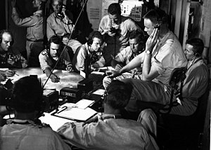USS Lexington (CV-16) - Chart room on board USS Lexington as the ship maneuvers into enemy waters during a strike on the Gilbert and Marshall Islands, December 1943
