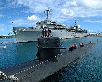 Naval Base Guam in the U.S. territory of Guam USS Salt Lake City (SSN-716) and USS Frank Cable (AS-40) at Apra Harbor, Guam, on 23 May 2002 (6640652).jpg