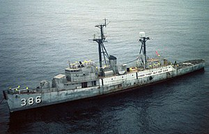 USS Savage (DER-386) as target ship off Point Mugu 1981.JPEG