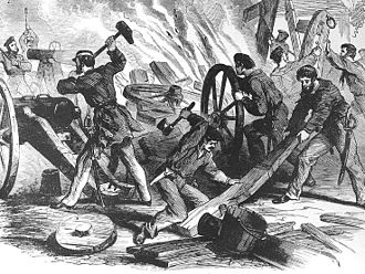 USS Seneca (1861) - Crew of Seneca, led by their commanding officer, Lieutenant Daniel Ammen, destroying enemy ordnance during the capture of Beaufort in November 1861.