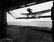 USS Wasp (CV-7) deck edge elevator from hangar 1940.jpg