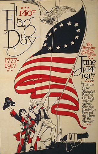 Flag Day (United States) - Poster commemorating the 140th Flag Day on June 14, 1917