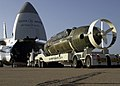 US Navy 040429-N-7949W-001 The Deep Submergence Rescue Vehicle Mystic (DSRV 1) is carefully loaded onto a Russian-built An-124 Condor (Antonov).jpg