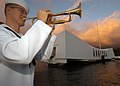 US Navy 041207-N-3019M-003 Musician 1st Class Guy Gregg, assigned to the Pacific Fleet Band, practices as the primary bugler before the 63rd commemoration of the Dec. 7, 1941 attack on Pearl Harbor, Hawaii.jpg