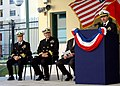 US Navy 050310-N-9197B-001 Master of Ceremonies, Capt. Joseph Napoli gives a speech during the dedication of the Command, Control, Computers, Communications, and Intelligence (C4I) building on board Naval Support Activity Naple.jpg