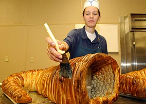 Cornucopia - A cornucopia made of bread, prepared for a Thanksgiving meal in 2005 for U.S. Navy personnel