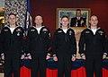 US Navy 070316-N-8655E-002 Sailor of the Year recipients, Petty Officer 1st Class Michael Parker, Machinist's Mate 1st Class Donovan Hatch, Navy Diver 3rd Class Christopher Lansford, and Electronics Technician 3rd Class C.jpg