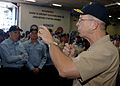 US Navy 070719-N-1786N-049 Chief of Naval Operations (CNO) Adm. Mike Mullen addresses the Sailors of amphibious assault ship USS Tarawa (LHA 1) during an all hands call.jpg
