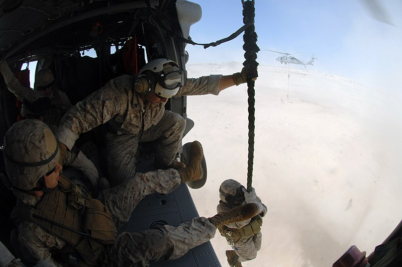 File:US Navy 071105-N-7027P-667 Marines attached to 4th Platoon, 2nd Fleet Anti-terrorism Security Team (FAST), practice fast roping out of a MH-60S Seahawk, assigned to Helicopter Sea Combat Squadron (HSC) 28, during a crisis respo.jpg