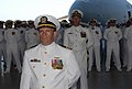 US Navy 080627-N-3289C-080 Cmdr. Robert Brown, executive officer for Naval Station Rota, stands in formation during a change of command ceremony for U.S. Naval Activities Spain.jpg