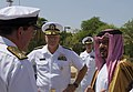 US Navy 080811-N-8273J-212 Commodore Peter Hudson of the Royal Navy, left, and Chief of Naval Operations (CNO) Adm. Gary Roughead, speak with Crown Prince of Bahrain, Gen. Khalifa Bin Almed Al Khalifa, Commander in Chief, Bahra.jpg