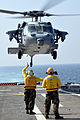 US Navy 101020-N-7293M-497 An MH-60S Sea Hawk helicopter takes off from the amphibious transport dock ship USS Ponce (LPD 15).jpg