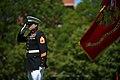 US Navy 110510-N-UH963-150 Gunnery Sgt. Brian M. Blonder renders honors during the National Anthem.jpg