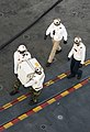 US Navy 110925-N-SF704-056 Hospital corpsmen aboard the aircraft carrier USS George Washington (CVN 73) carry a box of influenza vaccine aboard the.jpg