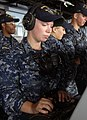 US Navy 111004-N-GH121-029 Seaman Recruit Lisanne King, from Spearfish, S.D., mans a sound-powered telephone on the bridge of the amphibious dock.jpg