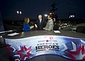 US Navy 111110-N-AC887-003 Secretary of the Navy (SECNAV) the Honorable Ray Mabus shares a laugh with ESPN SportsCenter anchors Hannah Storm and Ke.jpg