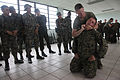 US Navy 111128-M-IC831-020 .S. Marine Staff Sgt. Joel Billingsley, a military police platoon sergeant, demonstrates how to apply pressure to a pres.jpg