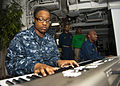 US Navy 120123-N-FI736-131 Information Systems Technician 3rd Class Kentara Gillard plays music during a Dr. Martin Luther King, Jr. birthday celeb.jpg
