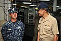 US Navy 120126-N-IT566-029 Adm. Cecil Haney, commander of U.S. Pacific Fleet, talks with Chief Machinery Repairman Oly Samonte, the machine shop's.jpg