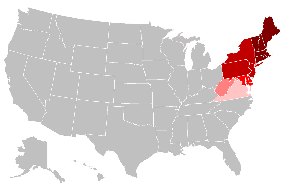 Northeastern United States Wikipedia - Us map massachusetts highlighted