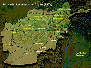 Provincial Reconstruction Team - Distribution of Provincial Reconstruction Teams (PRTs) in Afghanistan (2005).