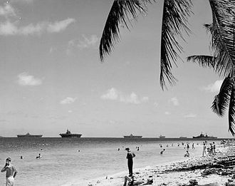 Ulithi - Sorlen Island looking into the north anchorage of Ulithi atoll, 1945.