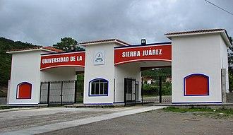 Universidad de la Sierra Juárez - Entrance gate to the Universidad de la Sierra Juárez in Ixtlán de Juárez, Oaxaca, Mexico
