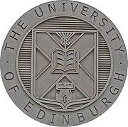 The coat of arms of the University of Edinburgh, displayed on St Leonard's Land