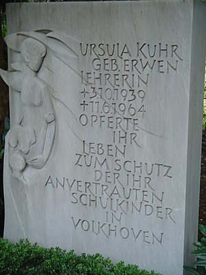 Cologne school massacre - Gravestone for Ursula Kuhr on Cologne Südfriedhof