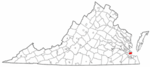 State map highlighting Hampton