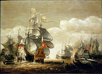 Second Anglo-Dutch War - The Battle of Lowestoft, June 13, 1665, showing HMS Royal Charles and the Eendracht.