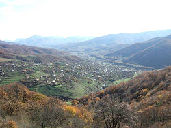 The village of Vank as seen from Gandzasar Monastery.
