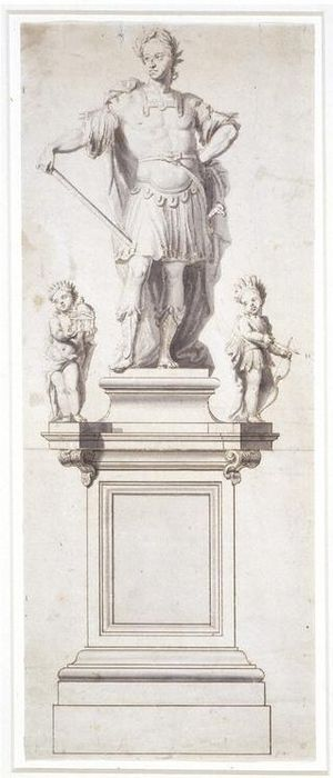 John Nost - Preparatory drawing by Jan van Nost for a statue of William III & II, now in the Victoria & Albert Museum