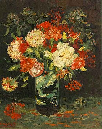 Still life paintings by Vincent van Gogh (Paris) - Vase with Carnations, 1886, Stedelijk Museum, Amsterdam (F245)