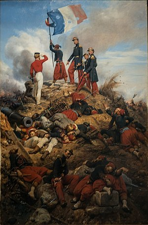 Battle of Malakoff - The Taking of Malakoff by Horace Vernet. A British officer salutes the French flag.