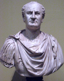 Front view of a bust of Vespasian. He is balding and wears a Roman tunic.