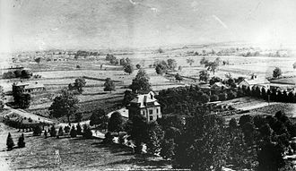 History of Ohio State University - The Veterinary Hospital and Experiment Station in 1890, surrounded by farmland.