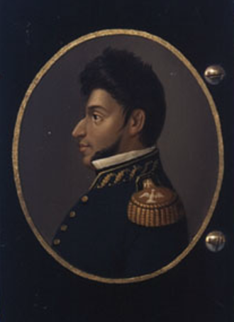 Vicente Guerrero - Profile portrait of Vicente Guerrero on an early 19th-century snuffbox (enamelled brass on lacquered wood)