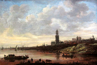 View of Rhenen with a Loaded Ferry