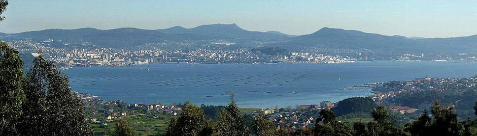 The city of Vigo, seen from the other side of the bay.