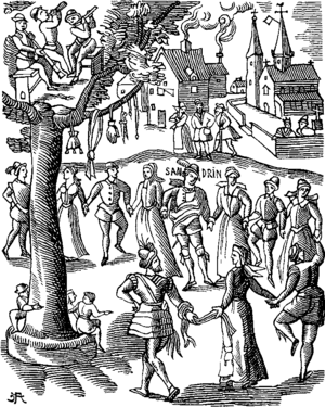 Festival - Village Feast. Facsimile of a woodcut of the Sandrin ou Verd Galant, facetious work end of 16th century (edition of 1609)