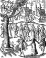 Village Feast Fac simile of a Woodcut of the Sandrin ou Verd Galant facetious Work of the End of the Sixteenth Century edition of 1609.png