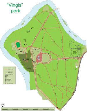 """Vingis Park - """"Vingis"""" Park major paths and objects map"""